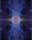 Abstrakte Auge ähnliche Blume mit dekorativen Flügeln auf den Seiten in glänzendem rosa, blau, purpurrot Lizenzfreie Stockfotos