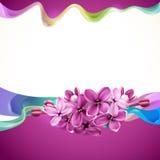 Abstrakte Auslegung mit lila Blumen Lizenzfreie Stockfotos