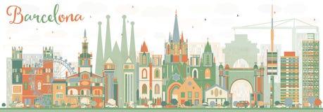 Abstrakte Barcelona-Skyline mit Farbgebäuden vektor abbildung