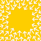 Abstrakte Begriffsillustration von den weißen Pfeilen, welche auf die Mitte zeigen vektor abbildung