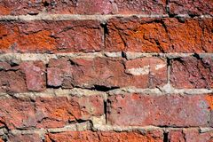 Abstrakte Beschaffenheit gebrochene Nahaufnahme der Backsteinmauer rote Farb Lizenzfreie Stockbilder