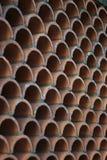 Abstrakte Beschaffenheit oder Hintergrund von kopierter Terra Cotta Wall Lizenzfreie Stockfotos