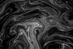 Abstrakte Beschaffenheitstinte auf Wasser in der Schwarzweiss-Farbe Stockbilder