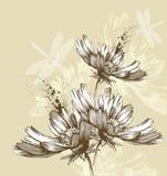 Abstrakte blühende Blumen, die Libellen, Hand fliegen Stockfotos