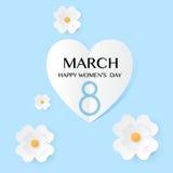 Abstrakte blaue Blumengrußkarte - internationaler glücklicher Tag der Frauen-s - 8. März Feiertagshintergrund Lizenzfreies Stockbild