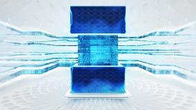 Abstrakte blaue Multimediatechnologiebegriffsvision stock abbildung