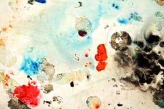 Abstrakte blaue orange schwarze Flecke, malender Aquarellhintergrund, malende abstrakte Farben lizenzfreies stockbild