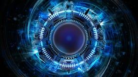 Abstrakte blaue starke kugelförmige Technologievision lizenzfreie abbildung