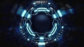Abstrakte blaue starke mechanische Technologievision vektor abbildung
