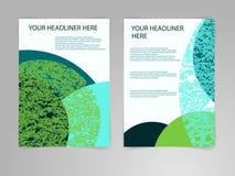 Abstrakte blaue und grüne Broschüren-Fliegerdesign-Vektorschablone in der Größe A4 Eco, Biologie, Schönheit und Medizinkonzept Stockfotos