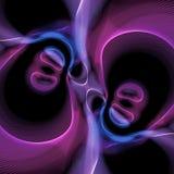 Abstrakte blaue und purpurrote Strudel auf schwarzem Hintergrund vektor abbildung