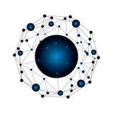 Abstrakte blaue Vektorkugel Technologieball Logo High-Tech lizenzfreie abbildung