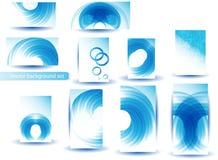 Abstrakte blaue vektorschablone und -set Lizenzfreies Stockfoto