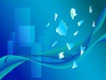Abstrakte blaue Welle mit Fragment des unterbrochenen gla Lizenzfreie Stockbilder