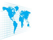 Abstrakte blaue Weltkarte Stockfotografie