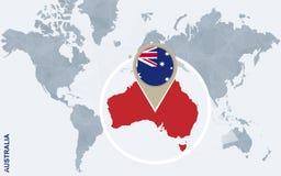 Abstrakte blaue Weltkarte mit vergrößertem Australien Stock Abbildung