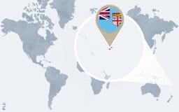 Abstrakte blaue Weltkarte mit vergrößertem Fidschi Stock Abbildung