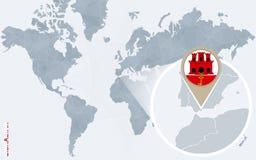 Abstrakte blaue Weltkarte mit vergrößertem Gibraltar Stock Abbildung