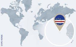 Abstrakte blaue Weltkarte mit vergrößertem Kap-Verde Vektor Abbildung