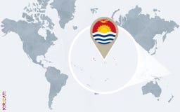 Abstrakte blaue Weltkarte mit vergrößertem Kiribati Vektor Abbildung