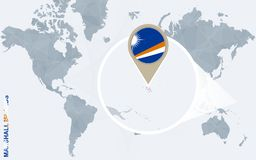 Abstrakte blaue Weltkarte mit vergrößertem Marshall Islands Vektor Abbildung