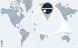 Abstrakte blaue Weltkarte mit vergrößertem Nauru Vektor Abbildung
