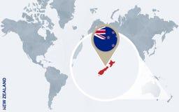 Abstrakte blaue Weltkarte mit vergrößertem Neuseeland Stock Abbildung