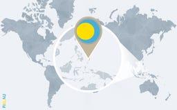 Abstrakte blaue Weltkarte mit vergrößertem Palau Lizenzfreie Abbildung