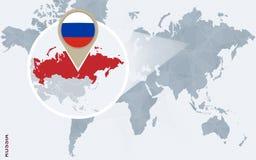 Abstrakte blaue Weltkarte mit vergrößertem Russland Lizenzfreie Abbildung