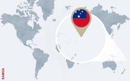 Abstrakte blaue Weltkarte mit vergrößertem Samoa Vektor Abbildung