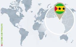 Abstrakte blaue Weltkarte mit vergrößertem Sao Tome und Principe Lizenzfreie Abbildung