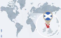 Abstrakte blaue Weltkarte mit vergrößertem Schottland Stock Abbildung