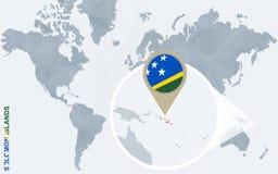 Abstrakte blaue Weltkarte mit vergrößertem Solomon Islands Vektor Abbildung