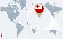 Abstrakte blaue Weltkarte mit vergrößertem Tonga Stock Abbildung