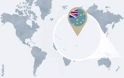 Abstrakte blaue Weltkarte mit vergrößertem Tuvalu Stock Abbildung