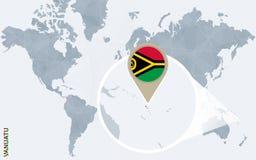 Abstrakte blaue Weltkarte mit vergrößertem Vanuatu Stock Abbildung
