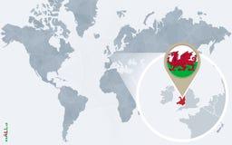 Abstrakte blaue Weltkarte mit vergrößertem Wales Stock Abbildung