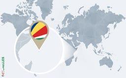 Abstrakte blaue Weltkarte mit vergrößerten Seychellen Lizenzfreie Abbildung