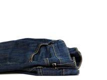 Abstrakte Blue Jeans auf weißem Hintergrund Lizenzfreies Stockfoto