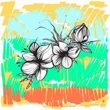 Abstrakte Blumen in boho Art gegen einen hellen Hintergrund, Weinlese Stockbilder