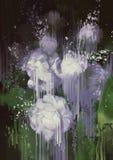 Abstrakte Blumen, Farbenbratenfett von den weißen Blumen lizenzfreie abbildung