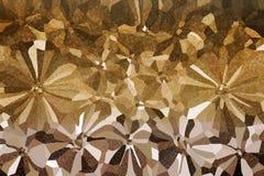 Abstrakte Blumen formen mit kleinem glänzendem bokeh auf Goldenem und Li Stockbild