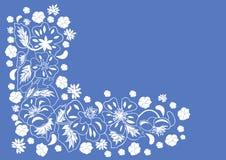 Abstrakte Blumenecke mit blauem Hintergrund Stockfoto