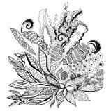 Abstrakte Blumengekritzelvektorillustration Stockfoto