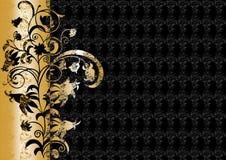 Abstrakte Blumenverzierung in den Schwarz- und Goldfarben Stockbild