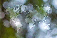 Abstrakte bokeh Natur mit Weltkarte Lizenzfreie Stockbilder