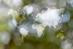 Abstrakte bokeh Natur mit Weltkarte Stockfotografie