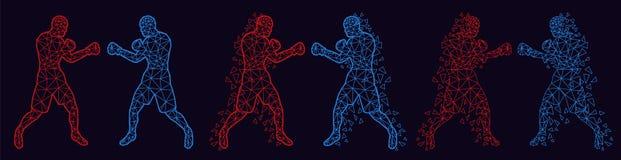 Abstrakte Boxer, die gegeneinander kämpfen stockbild