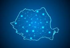 Abstrakte Breilinie und -Punkt-Skalen auf dunklem Hintergrund mit Karte von Rumänien vektor abbildung