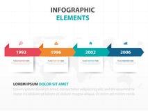 Abstrakte bunte Aufklebergeschäftszeitachse Infographics-Elemente, Design-Vektorillustration der Darstellungsschablone flache für Stockfotos